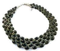 Multi Row Black Glass Bead And Silver Chain Necklace By Coast.
